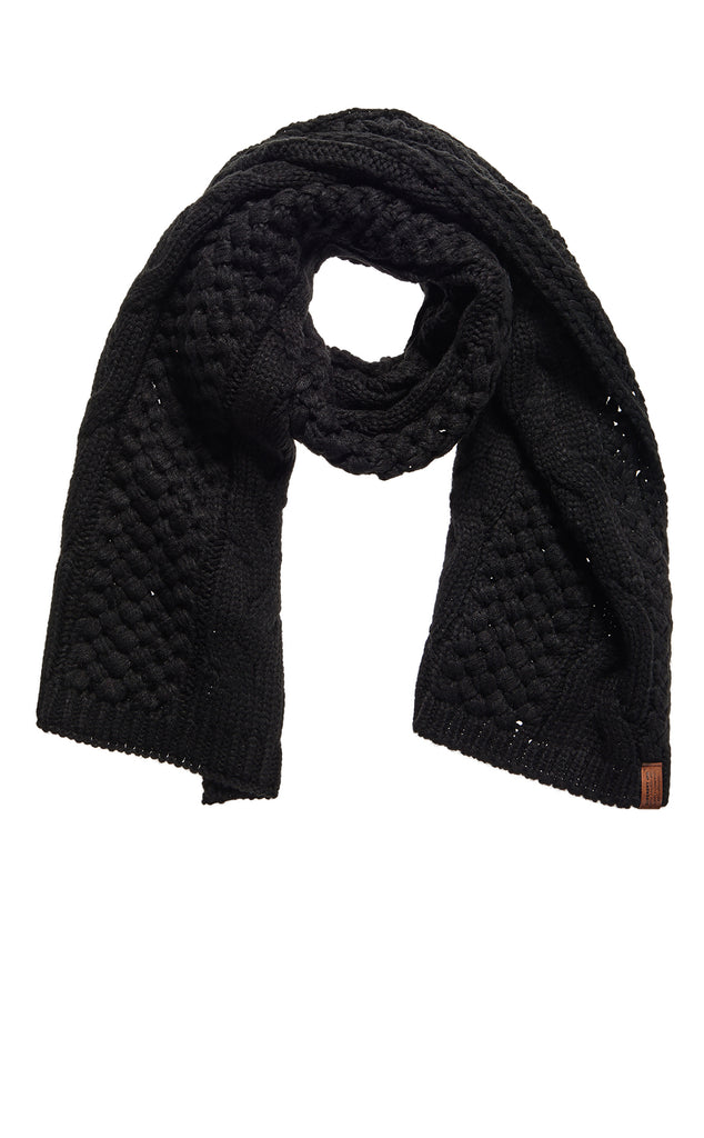 Superdry Ladies North Cable Black Scarf