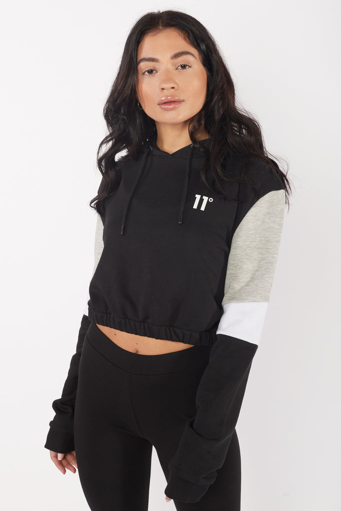 Cropped Panel Black/Grey Marl/White Pullover Hoodie.