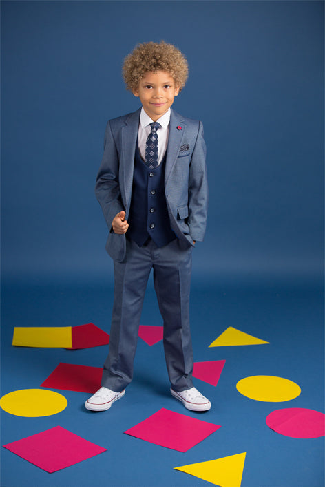 Benetti Blue Mathew Three Piece Boys Suit With Contrasting Navy Waistcoat