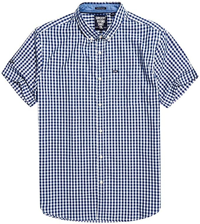 Ultra Lite Oxford Navy Check S/S Shirt By Superdry