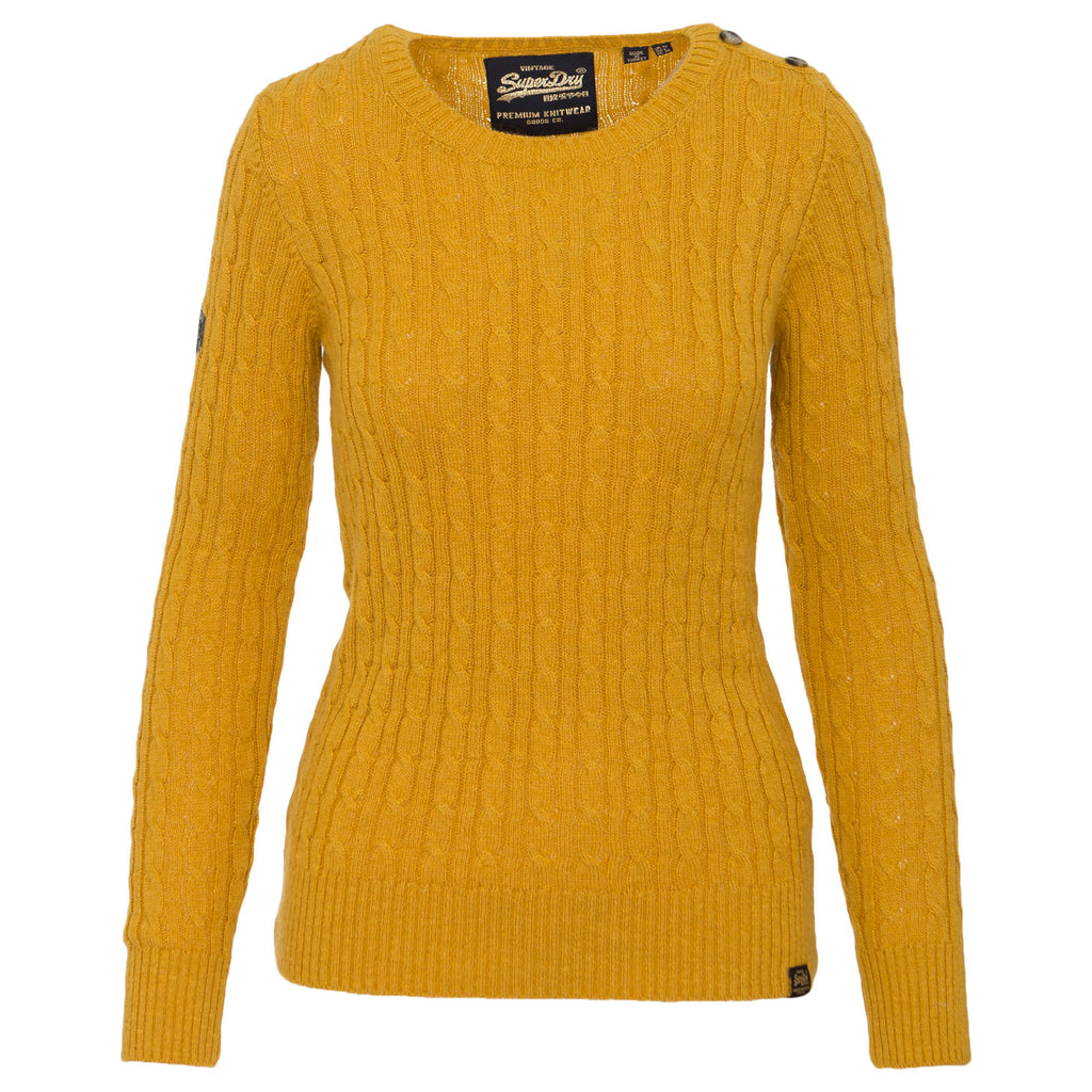 Superdry Ladies Croyde Cable Ochre Crew Knitwear