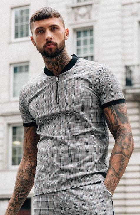 Grey Check Zip Short Sleeve Tee by Mauvais