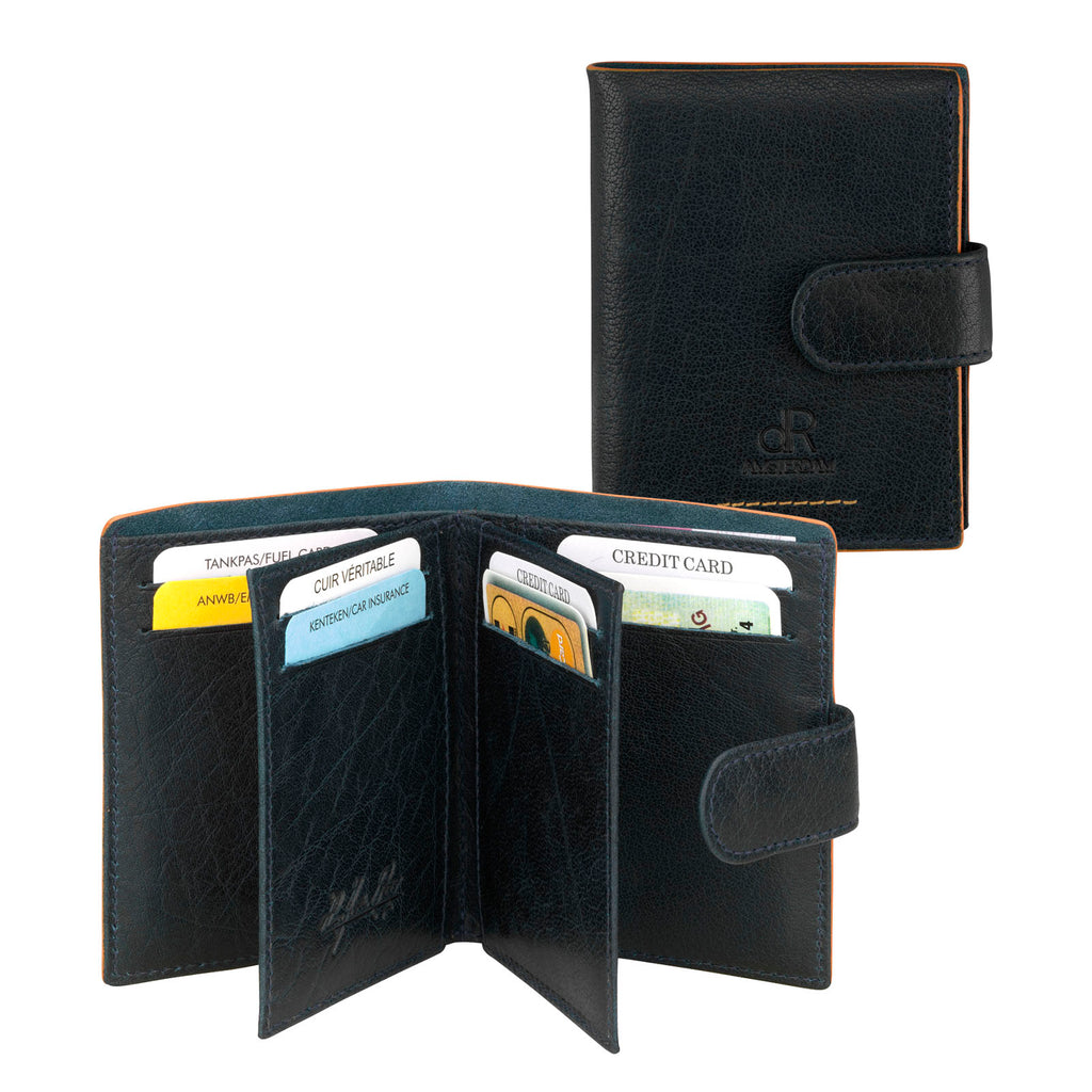 Amsterdam Leather Credit Card Holder 91636 Blue