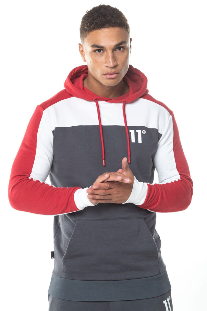 Colour Block Pull Over Hoodie - Anthracite, White & Red by 11 Degrees