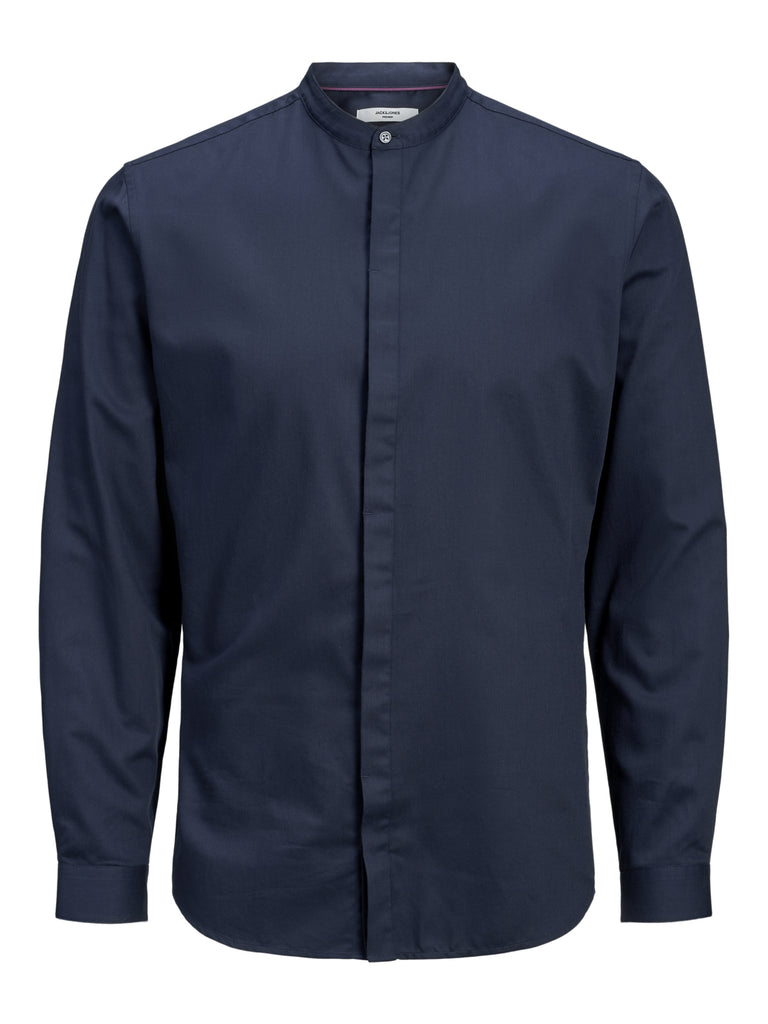 Antonio Band Grandfather Long Sleeve Navy Shirt