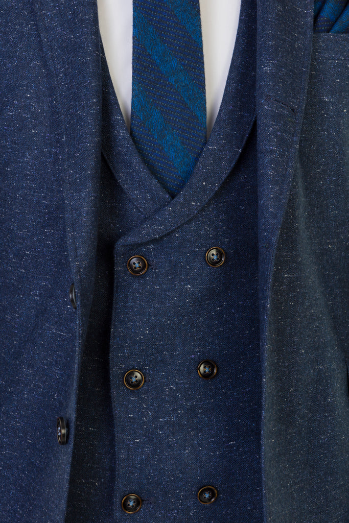 Bale Smoke Tapered Fit 3 Piece Suit With Double Breasted Waistcoat.