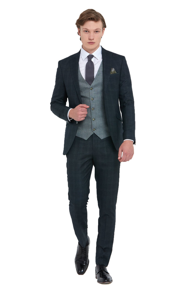 Joey Forest 3 Piece Slim Fit Suit