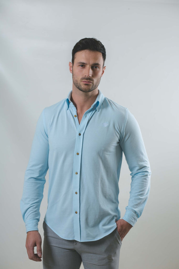 Slim Fit Light Blue Pique Long Sleeve Shirt by Walker & Hunt