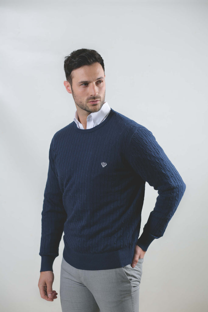 Cable Crew Neck Navy Jumper