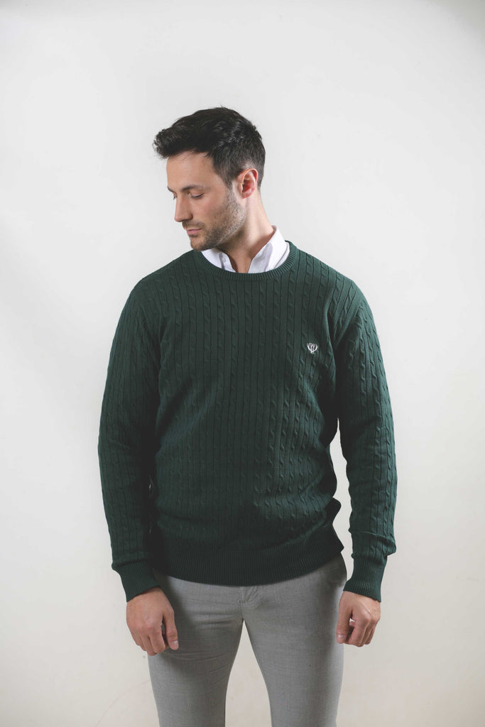 Cable Crew Neck Green Jumper