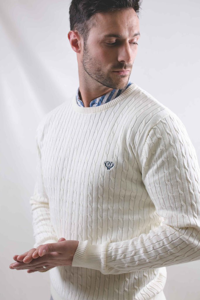 Cable Crew Neck Cream Jumper