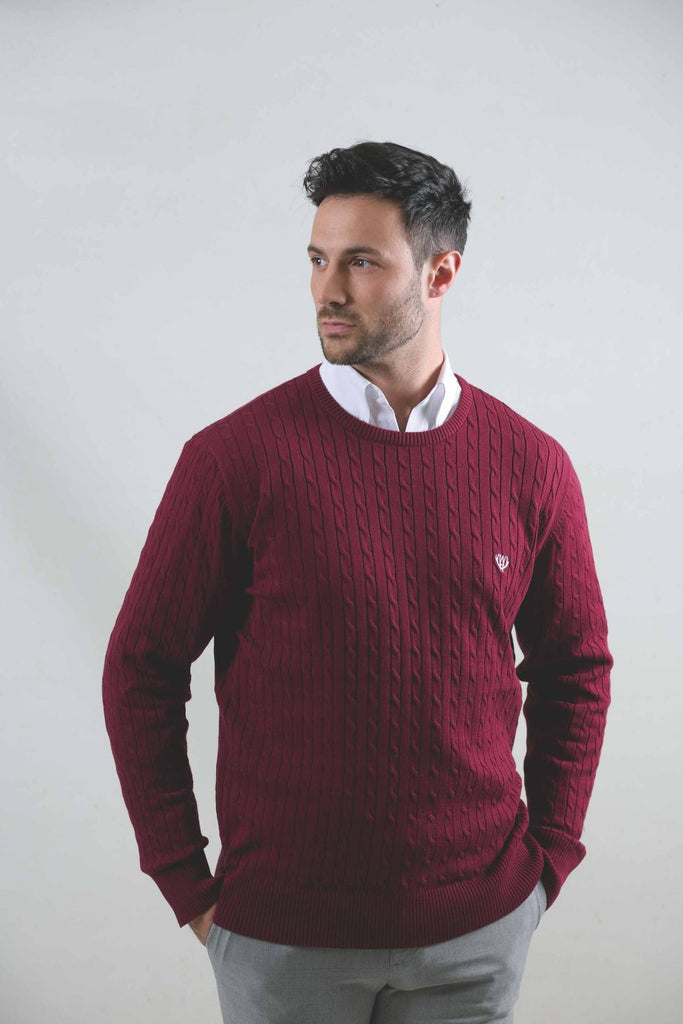Burgundy Cable Crew Knit