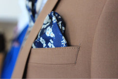 Carter Beige Suit by Travis Pocket Square Detail