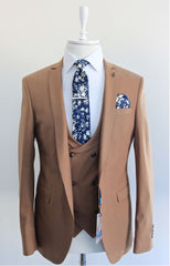 Carter Beige 3 Piece Suit by Travis