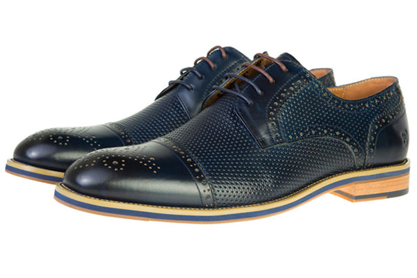 Benetti Navy Leather Conor Brogue Shoe