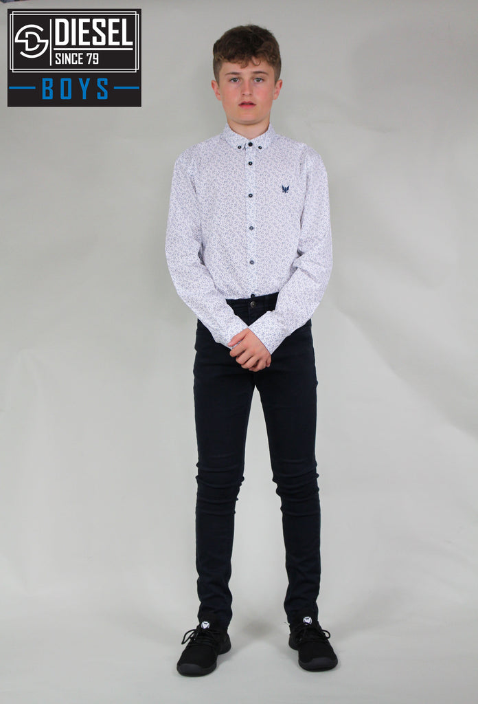 Morrie white pattern boys shirt