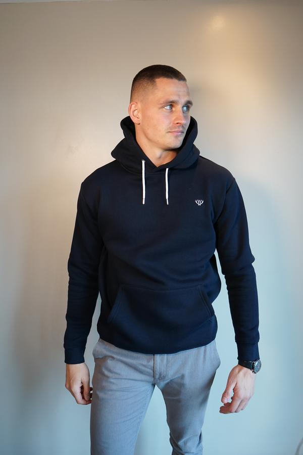 Men's Navy Over Head Hoodie by Walker & Hunt