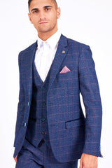 Marc Darcy Harry Windowpane Check Blazer Indigo