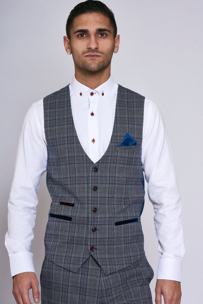 Mens Blue Check Tweed Waistcoat Single Breasted Marc Darcy Slim Fit Smart Vest
