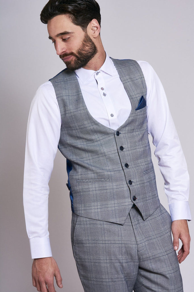 Marc Darcy Grey Check Jerry Tailored Waistcoat