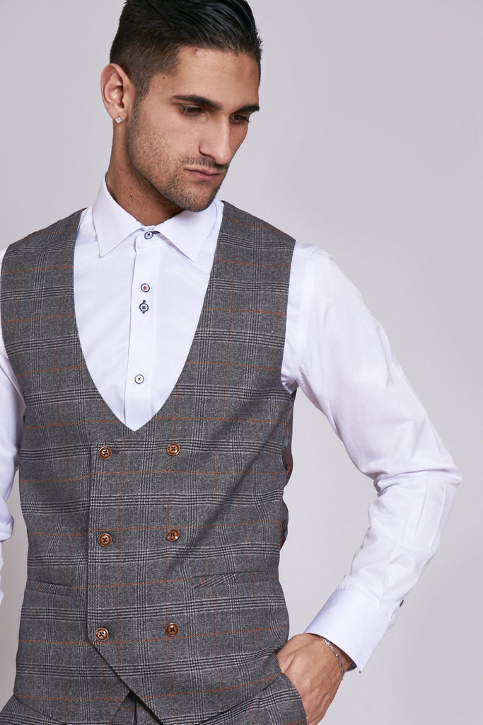 Jenson Grey Check Double Breasted Waistcoat