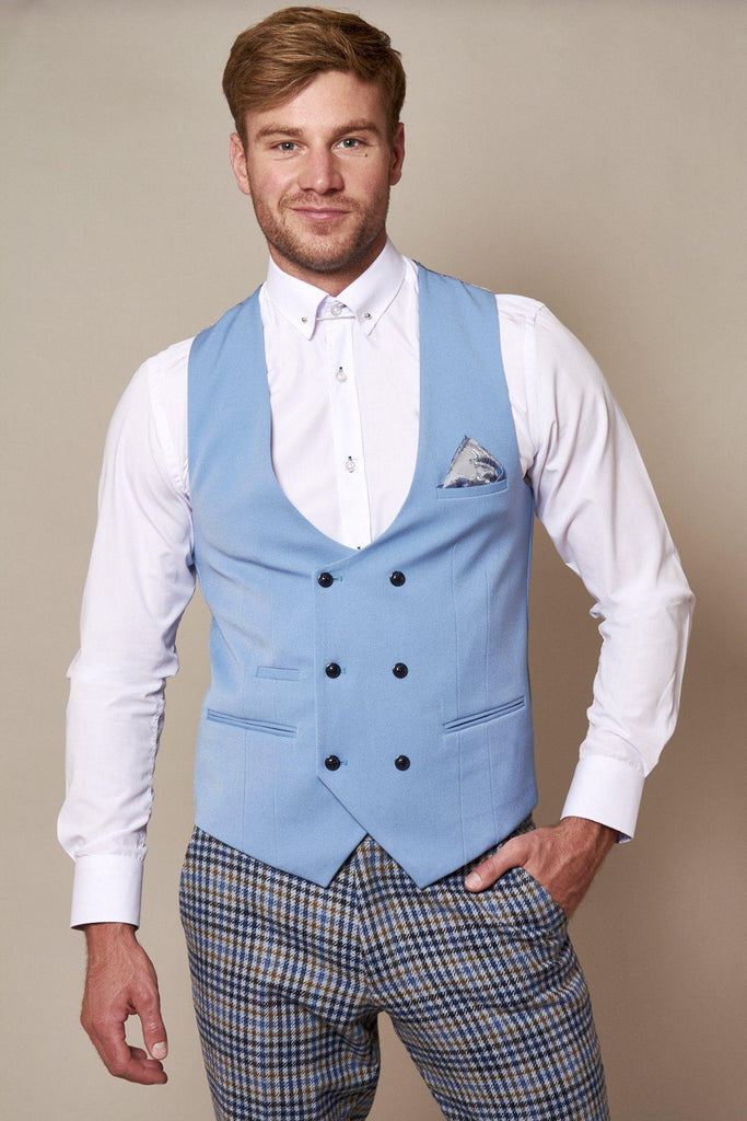Kelly Sky Double Breasted Waistcoat by Marc Darcy