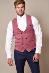 Kelly Double Breasted Pink Waistcoat by Marc Darcy