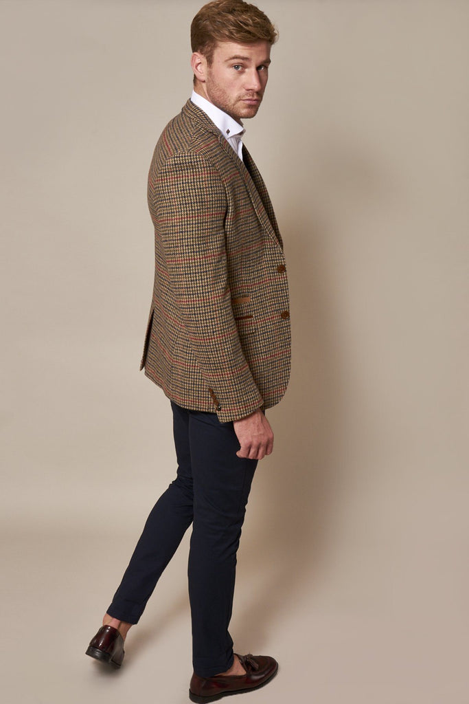 Marc Darcy Edward Olive Green Check Tweed Blazer