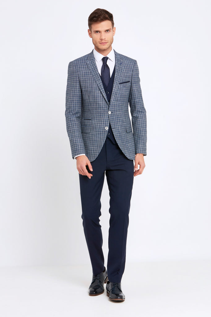 Darcy Navy Check 3 Piece tapered fit suit