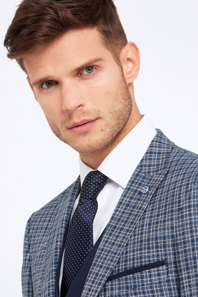 Darcy Navy Check 3 Piece tapered fit suit by Benetti