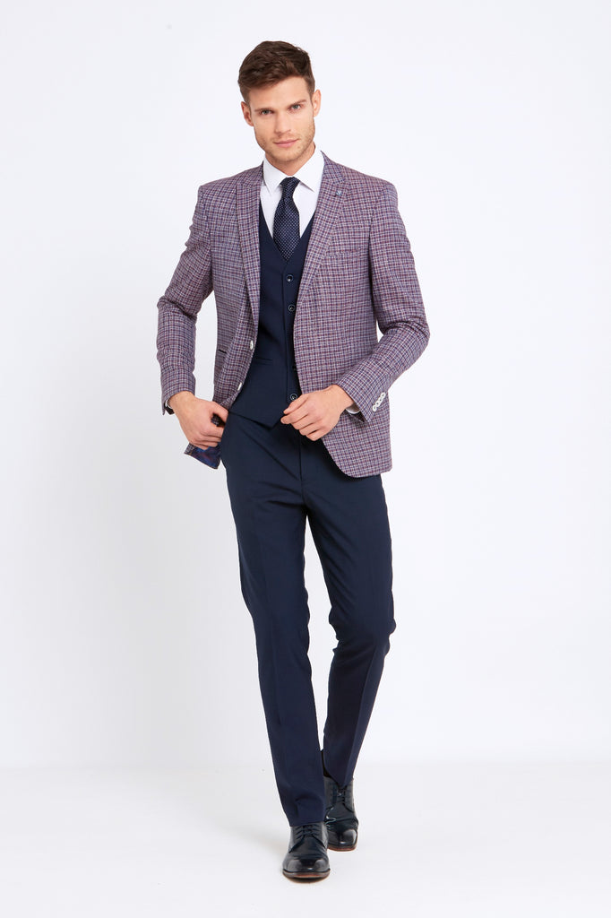 Darcy Wine Check 3 Piece tapered fit suit