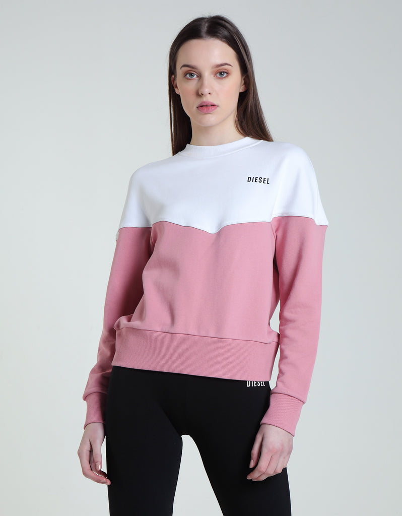 Drew pink & white panel crew neck  Sweater