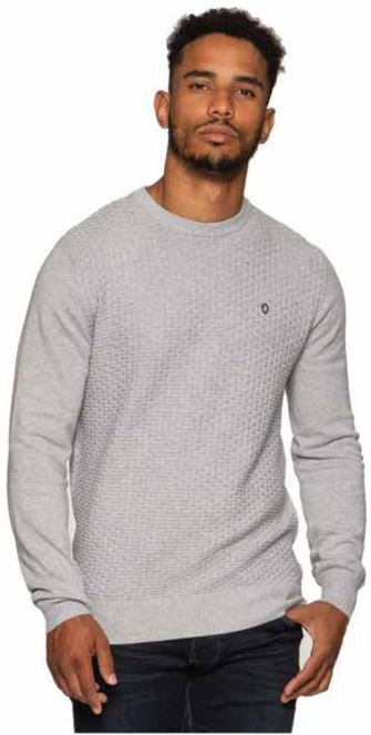 ESK600 Structured Crew Neck Grey Melange Long Sleeve Jumper