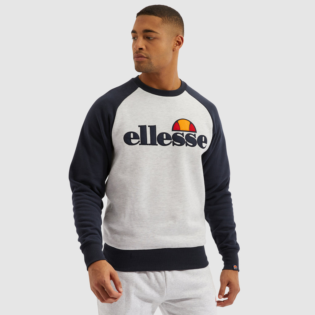 Triviamo Sweatshirt White Marl Body With Navy Raglan Sleeves