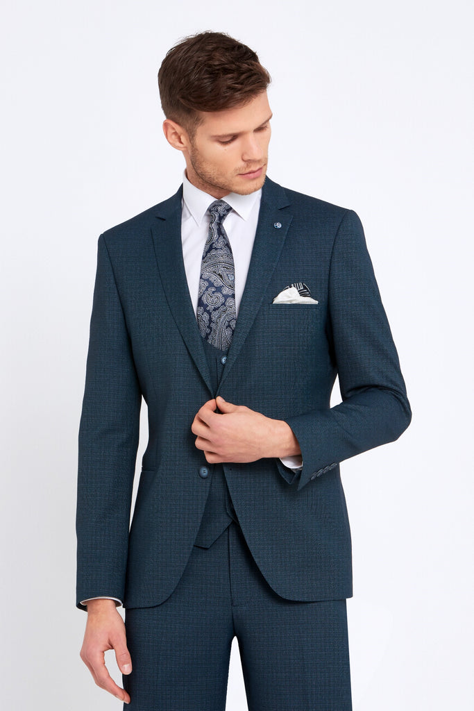 Emmet 3 Piece Tapered Teal Suit by Benetti