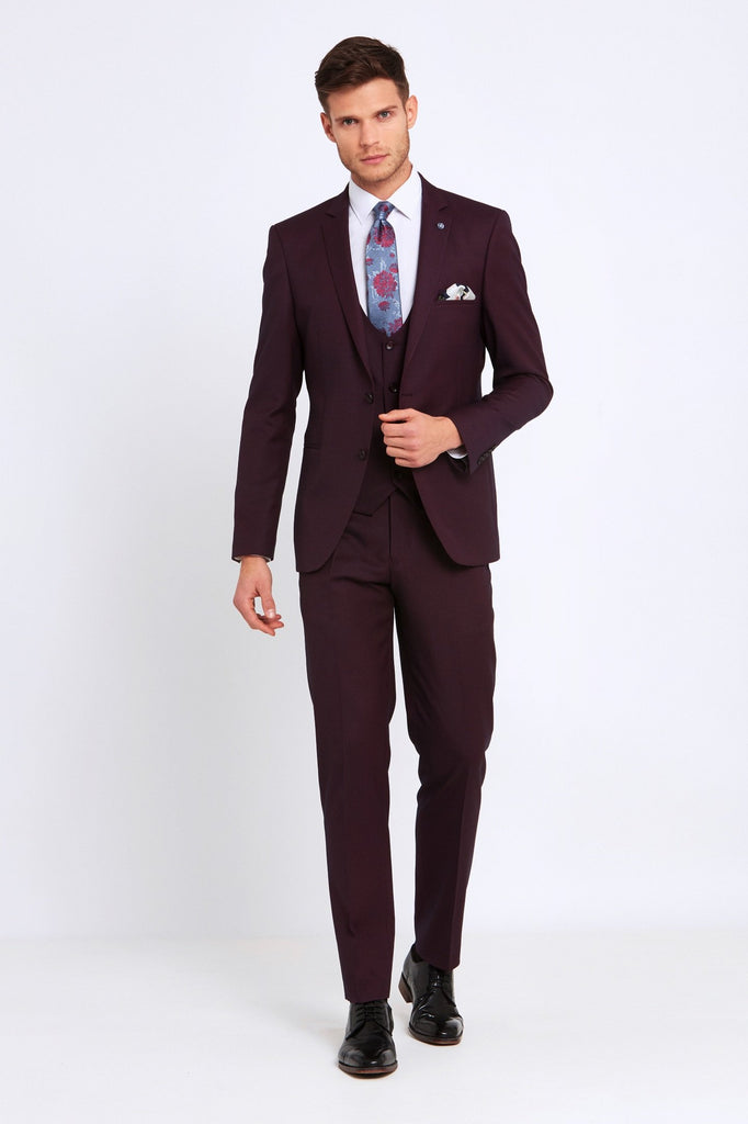 Emmet 3 Piece Tapered Wine Suit by Benetti