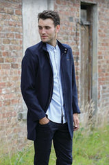 Floyd Navy Three Quarter Length Coat