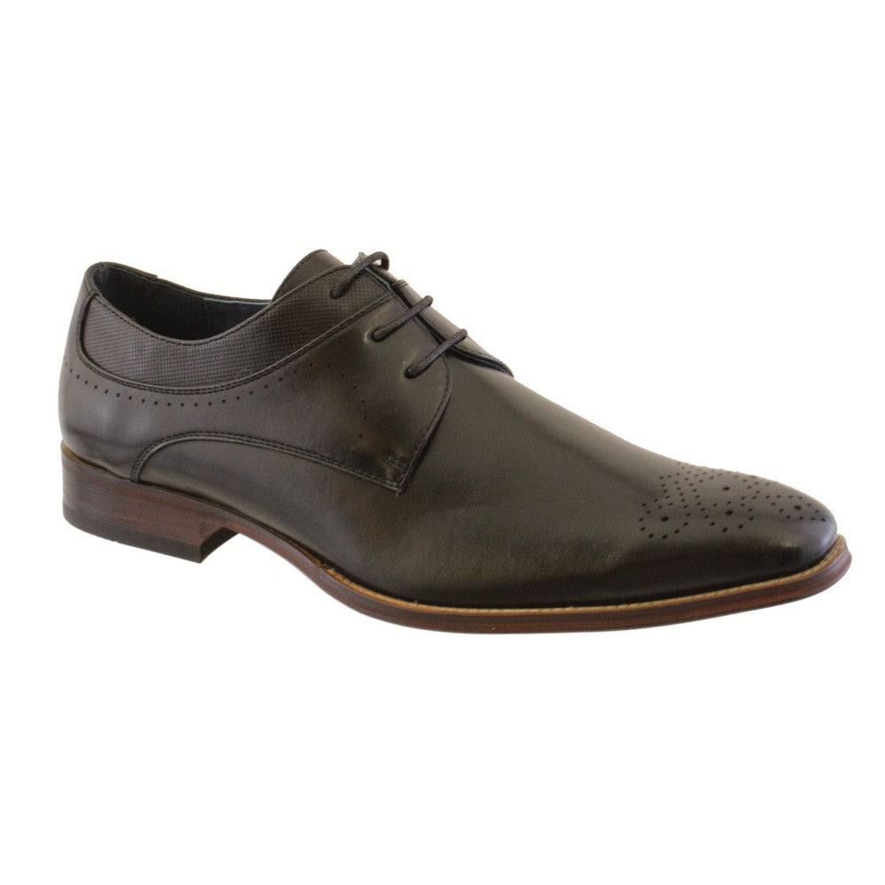 Goor Black PU lace up brogue shoe.
