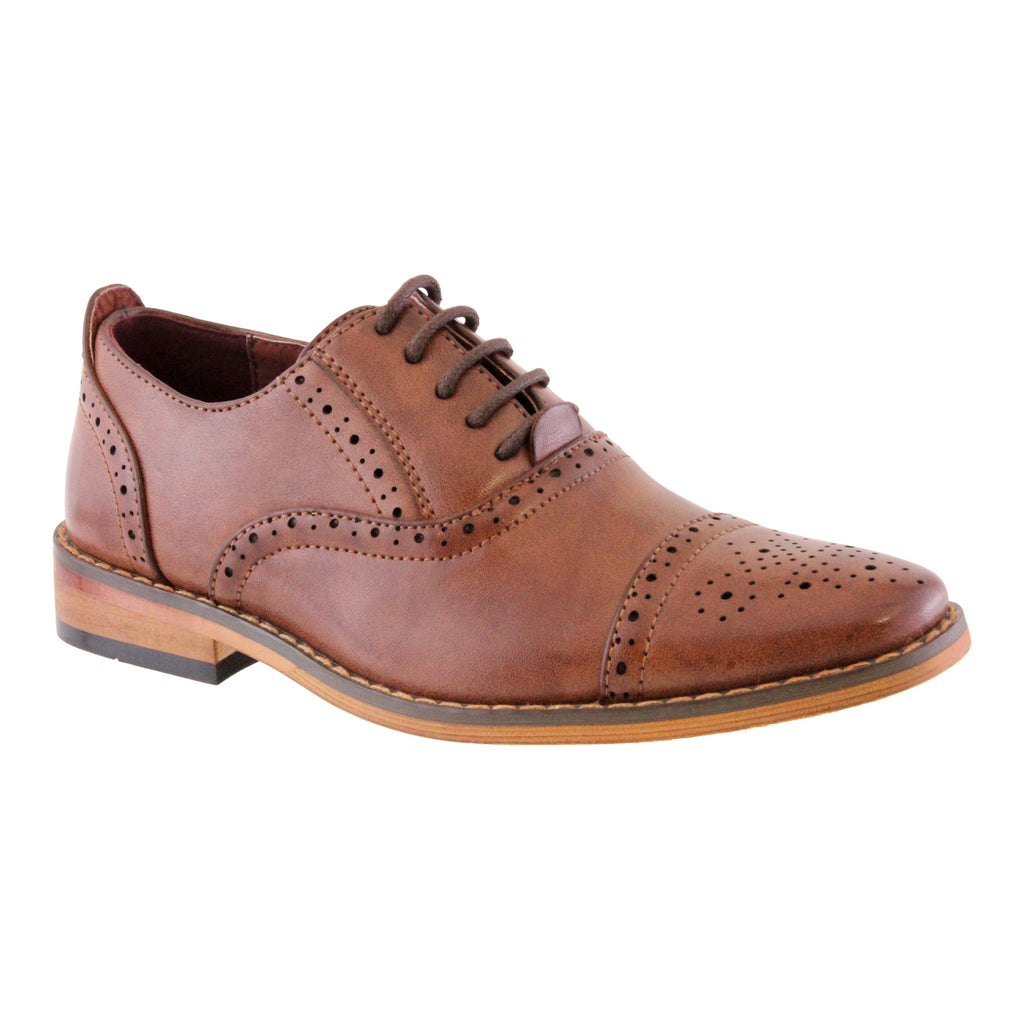 PU Leather Brown Lace Up Brogue. Goor 172