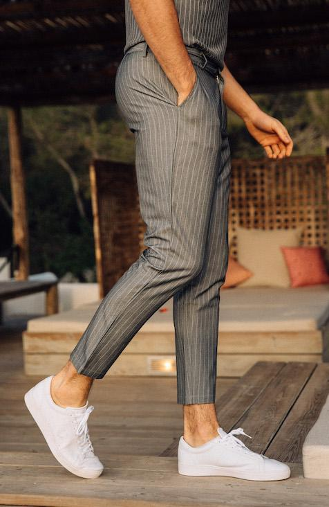 Grey Pinstripe Cropped Trouser
