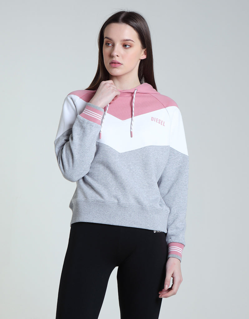 Rose over the head ping grey & white Hoodie