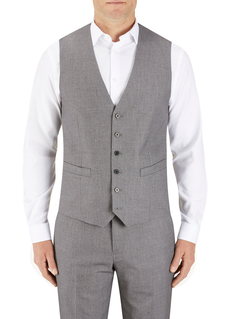 Harcourt Silver Tapered Waistcoat by Scopes