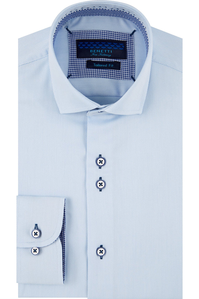 Hudson Tapered Fit Sky Shirt By Benetti
