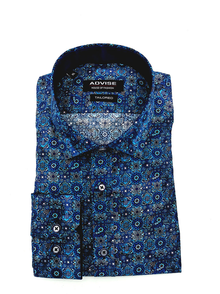 All Over Navy Print Tapered Fit Shirt. AD759