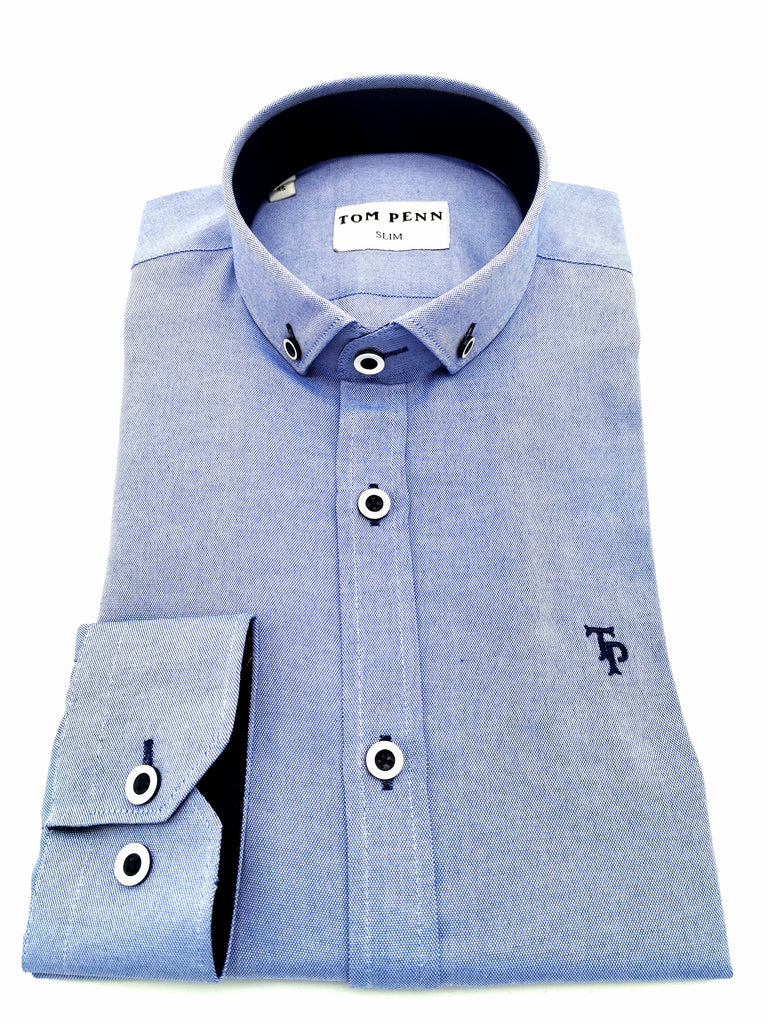 TP467 Button Down Tom Penn Blue Long Sleeve Shirt