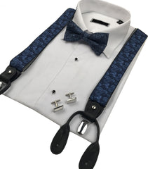 Blue Paisley Men's Bow & Braces Set.