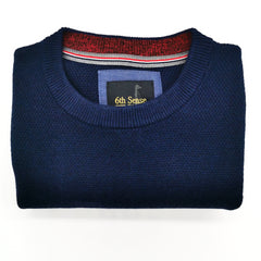 6th Sense Structured Thunder Crew Neck Peacoat Navy Jumper
