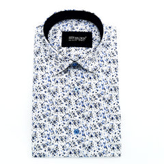 White & Blue All Over Print  Shirt   Tapered Fit  Long Sleeve. 190953-2