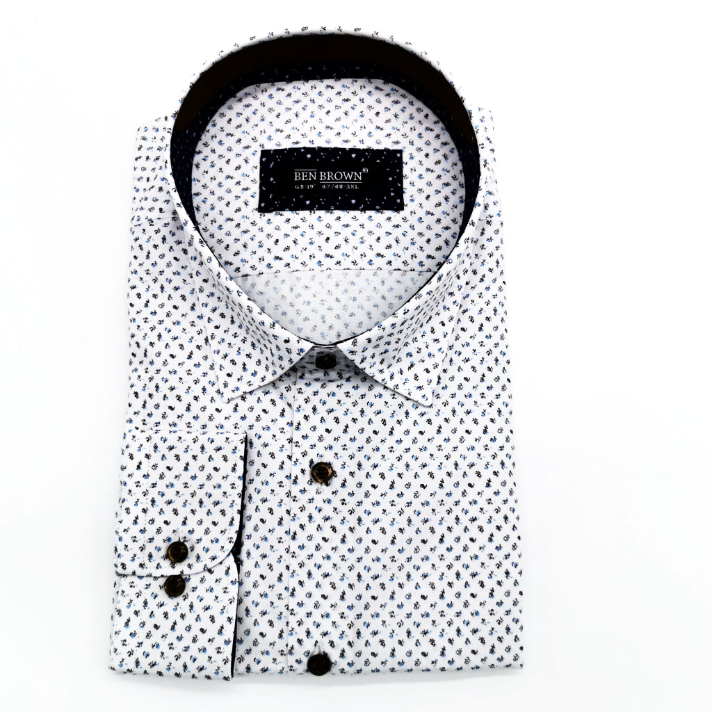 White With Floral Pattern Tapered Fit  Long Sleeve Shirt by Ben Brown. 190210-1