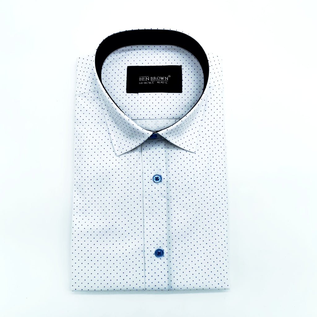 White & Blue Dot Tapered Fit Long Sleeve Shirt. 190952-1